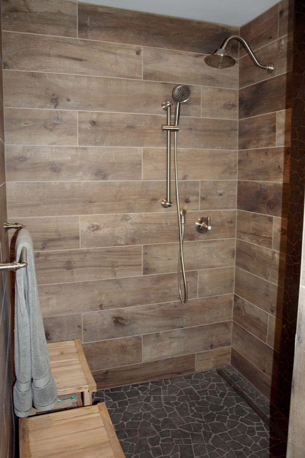 33 Wood Tile Bathroom Ideas Wood Tile Shower Designs