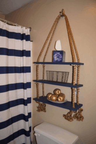 Apartment Décor DIY Nautical Rope Shelf
