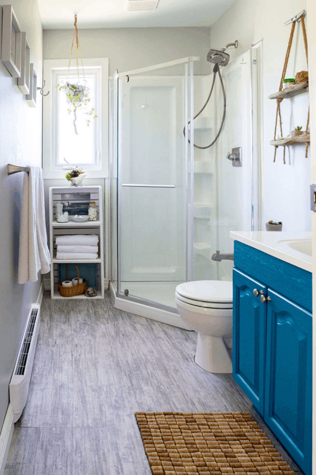 Budget-Friendly Beach Themed Bathroom Makeover