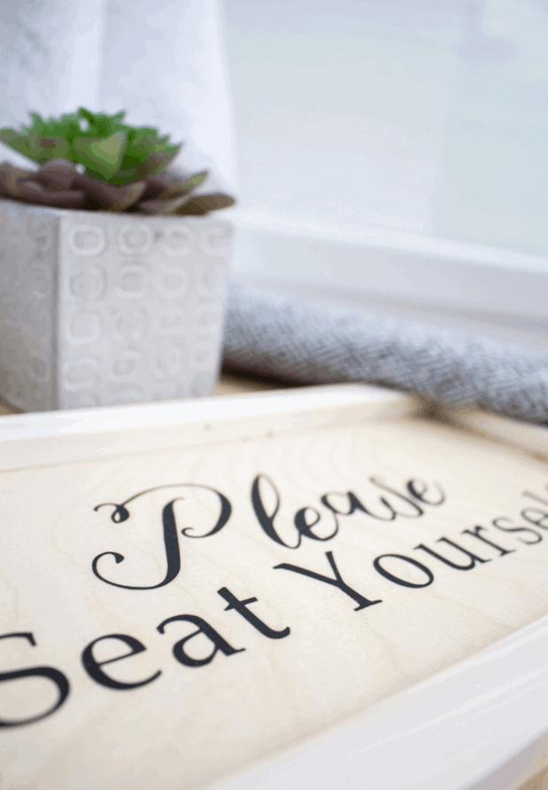 DIY Bathroom Sign Using the Cricut EasyPress on Wood