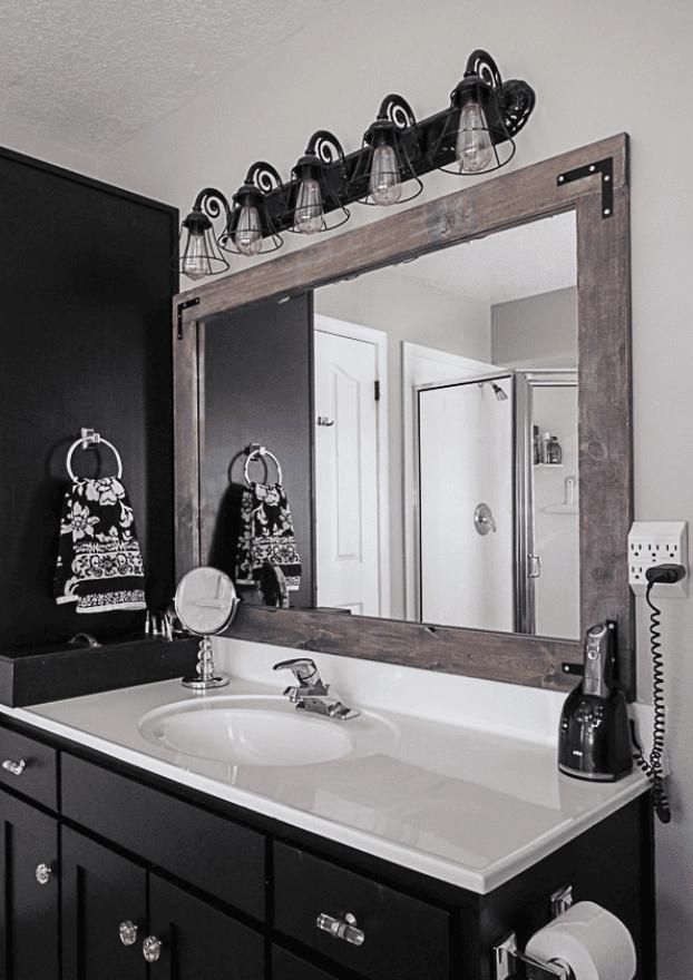 DIY Stick-On Mirror Frame