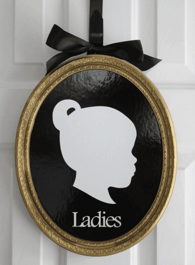 DIY Victorian Cameo Bathroom Signs (with an optional Cricut Tutorial)