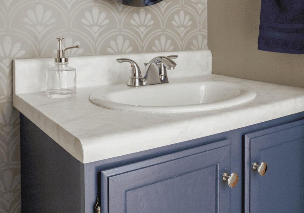 Half-Bath Makeover DIY Faux Marble Countertop