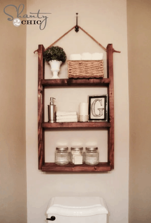 How to Make a Hanging Bathroom Shelf for only $10