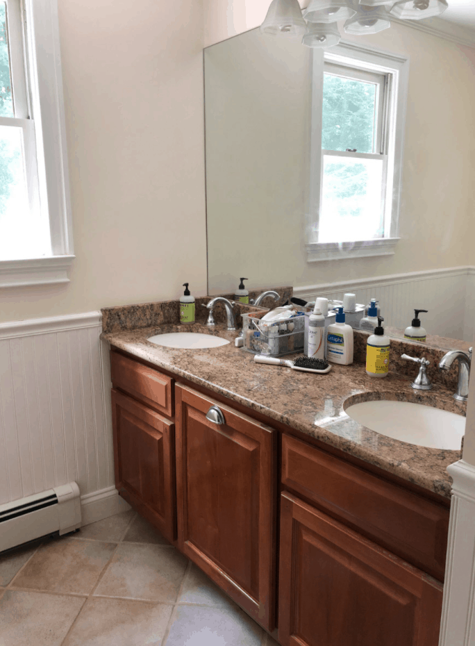 Our Painted Bathroom Vanity Before and After and a How-To Guide