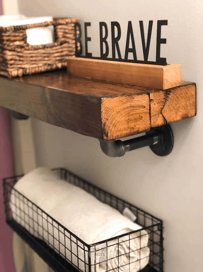 Rustic Bathroom Shelving That You Can DIY