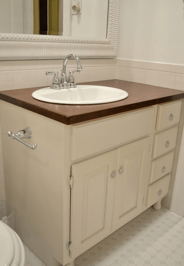 Totally Transformed Updating an Old Bathroom Vanity