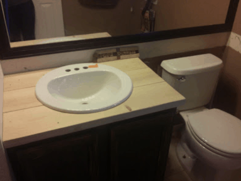 Wood Countertop, Bathroom DIY