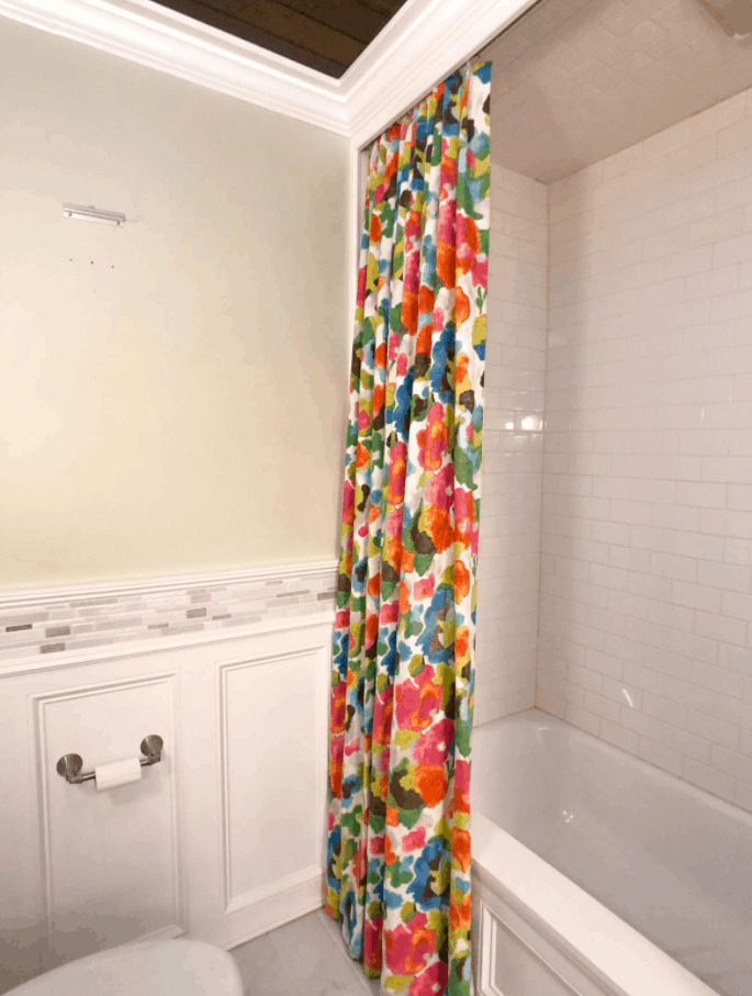 DIY Colorful Shower Curtains (In A Watercolor Floral Fabric)