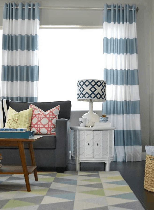 DIY Grommet-Top Curtains Using Shower Curtains
