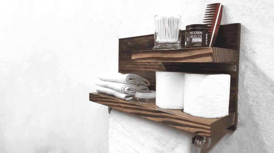 DIY Towel Rack & Bathroom Organizer