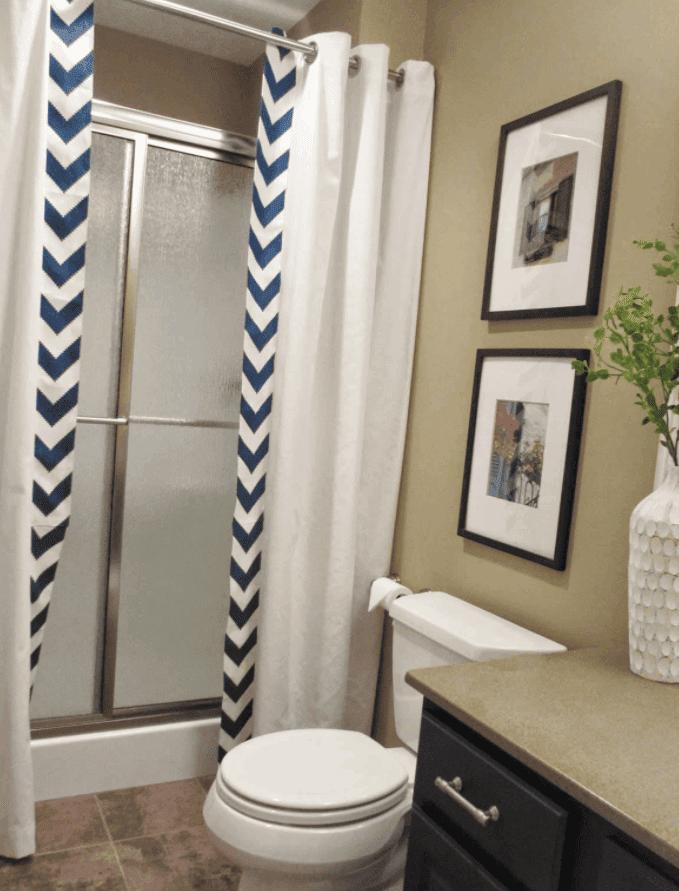 Guest Bathroom No-Sew Shower Curtain Tutorial
