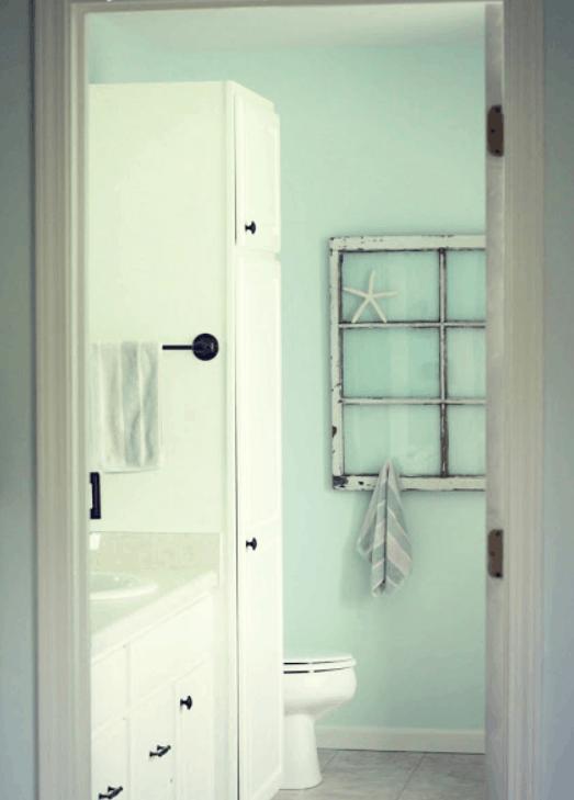 Repurposed Window Bathroom Towel Rack