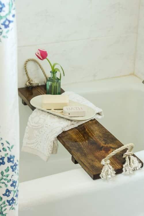Rustic DIY Bathtub Tray