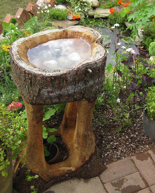Solid Wood Bird Bath