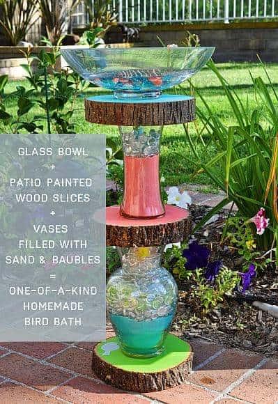 Vase and Stump Bird Bath
