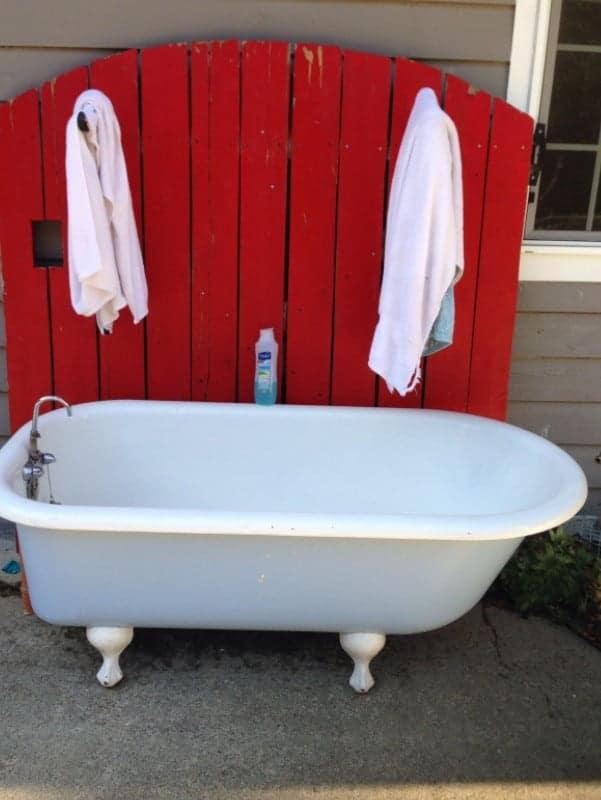 Reclaimed DIY Dog Bath Tub